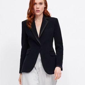 Zara contrasting velvet blazer